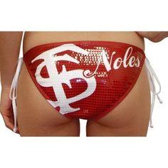 Florida State Seminoles (FSU) Ladies Sequin Triangle Bikini Bottom - Garnet