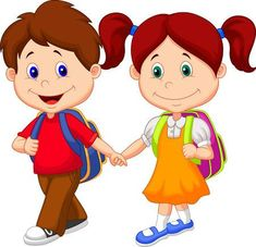 Cute Cartoon Boy And Girl Images Are Free To Copy. All Clipart Images Are On A Transparent Background Cute Cartoon Boy, Cartoon Kids, Happy Cartoon, Cartoon Posters, Pre Primary School, Pre School, School Today, Clip Art, Kids Going To School