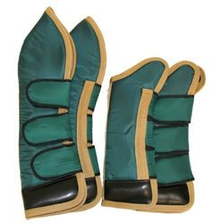 "Full Length Set of Four Horse Shipping Boots Hunter Green by AJ. $55.00. Front boots: 21"". Hind boots: 29"". Color: Hunter Green/Gold trim. Set of four full length shipping boots. Made with 420 denier durable water resistant nylon, foam padding and black fleece lining. 4"" vinyl hoof protector to safeguard the horse legs and for extra water and stain resistant. Three Jumbo Velcro closures per boot."