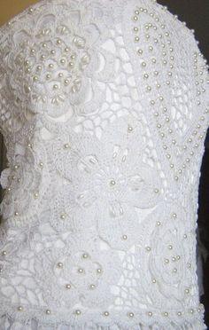 Подарки ручной работы, купить сувениры, авторские изделия и эксклюзивные вещи - продажа по выгодным ценам, украшения ручной работы - платье свадебное вязаное Crochet Wedding Dresses, Crochet Summer Dresses, Crochet Lace, Irish Crochet, Ring Pillow Wedding, Fringe Dress, Hobbies And Crafts, Marie, Free Pattern