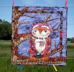 Art Quilt  Owl Be Yours  Mixed Media Wall by PersimonDreams