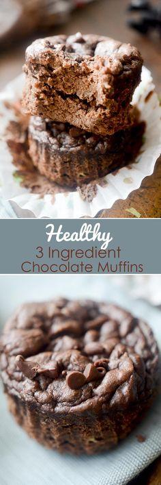 Healthy 3 Ingredient Chocolate Muffins