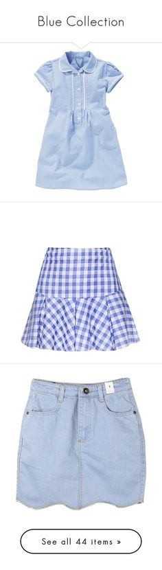"""Blue Collection"" by kimmykawaii ❤ liked on Polyvore featuring dresses, blue dress, gingham print dress, blue gingham dress, gingham dress, skirts, gingham, gingham skirt, circle skirt and knee length pleated skirt"