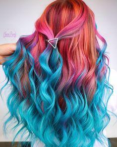 Crazy Colour Hair Dye, Exotic Hair Color, Hair Color Blue, Cool Hair Color, Dramatic Hair Colors, Vibrant Hair Colors, Hair Dye Colors, Pink And Orange Hair, Pulp Riot Hair Color