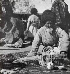 Bazaar, Rug Dealers, Turkmenistan, 1918.
