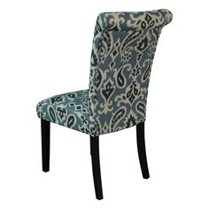 Monsoon Pacific Voyage Upholstered Dining Chairs, Blue, Set of 2  This rollback chair will add some color to your home with a new stylish fabric design. The patterns are random making no two chairs identical in the arrangement of the fabric. Set includes two blue map print Linen fabric chairs with Dark Walnut finish legs Set includes two blue map print Linen fabric chairs with Dark Walnut finish legs Pine wood frame; California fire retardant foam Set includes two blue map print Line..