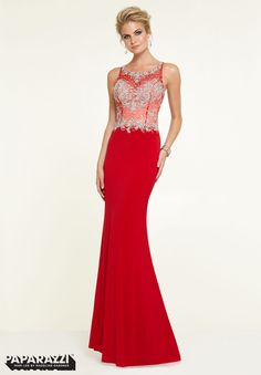 97146 Prom Dress / Gown Crystal Beaded Net on Jersey with Chiffon Fly Away Red