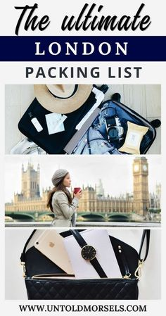 London travel packing list - get ready for your trip to London with the ultimate travel packing list for London. Includes - London trip essentials, capsule wardrobe for London, beauty items for your London trip and tech gear to make the most of your Londo Ultimate Packing List, Packing List For Travel, Ultimate Travel, Packing Tips, Travel Tips, Travel Checklist, Travel Hacks, Travel Ideas, Travel Pro