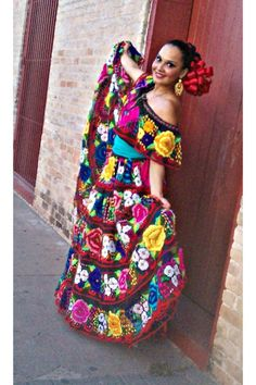Discover this look wearing Floral Dress Dresses tagged fav - ~CHIAPANECA~ by vebouchotg styled for I Die for DIY, Holiday Party Mexican Costume, Mexican Outfit, Mexican Dresses, Mexican Party, Mexican Style, Mexican Clothing, Traditional Mexican Dress, Traditional Dresses, Charro Outfit