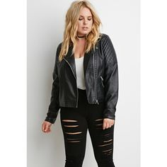 Forever 21 Plus Quilted Faux Leather Moto Jacket ($33) via Polyvore featuring outerwear, jackets, quilted jacket, quilted moto jacket, light weight jacket, quilted faux leather jacket and lightweight quilted jacket