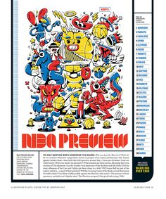 ESPN The Magazine / NBA Preview Illustration by DXTR https://www.behance.net/dxtrs Custom Typography by TwoPoints.Net http://www.twopoints.net/