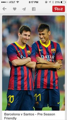 Neymar and Lionel Messi on FC Barcelona