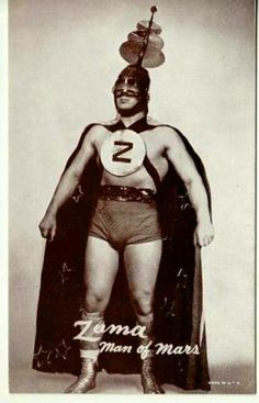 atomic-flash:  Zuma The Man From Mars (c. 1949) - Professional wrestler aka Carl J. Engstrom. Professional career: 1948 - 1963.