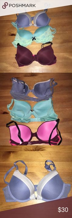 Bundle of Three Victoria Secret/PINK bras Three Victoria Secret/PINK bras!   I wore each a couple times, the burgundy was worn ONCE! SUPER awesome condition!!!!  The price is for the bundle, but if you want to talk price just let me know😊 All are Size 32B and Push Up Victoria's Secret Intimates & Sleepwear Bras
