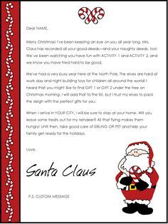 Editable NiceNaughty Certificates Santa Letter Christmas Reward