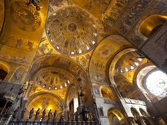 Gold Mosaics on the Dome Vaults of St. Mark's Basilica in Venice, Veneto, Italy, Europe by Carlo Morucchio.  Photographic print from Art.com.