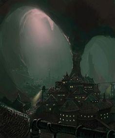 Dark Elf city near the surface. D & D, Pathfinder, RPG games. Dark Fantasy, Fantasy Magic, Fantasy City, Fantasy Places, Fantasy World, Fantasy Queen, Fantasy Forest, Fantasy Castle, Artwork Fantasy