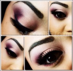 Purple, Gold, white, and black smokey eye
