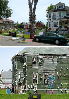 """Detroit's """"The Heidelberg Project"""" Heidelberg Project, Amazing Street Art, Community Building, Thinking Outside The Box, Recycled Art, Ecology, Detroit, Abandoned, Centre"""