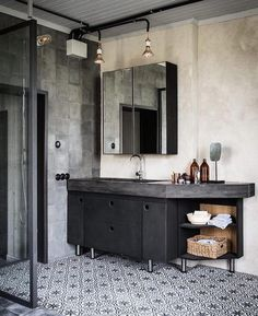 Tiles, basin, render & mood - loving this space 💭 designed by Johan Israelson, styling by Tima Hellberg 📷 by Johan Sellén via @lucdesign