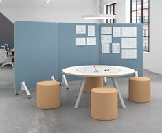 Inspired by shared dining, the Tonic Simple Table draws a crowd. The full markerboard surface and rotating center fuses utility and motion, boosting creative idea sharing for teams. Office Furniture, Furniture Design, Office Team, Meeting Table, Open Office, Workspace Design, Screen Design, Clever Design, Create Space