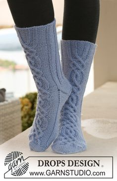 Socks & Slippers - Free knitting patterns and crochet patterns by DROPS Design Drops Design, Knitting Patterns Free, Free Knitting, Free Pattern, Crochet Slippers, Crochet Yarn, Magazine Drops, Knit Shoes, Stocking Tights