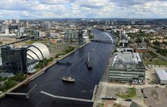 """The River Clyde as viewed from the top of the """"Glasgow Tower"""", Scotland 