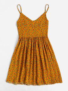 V Neckline Ditsy Print Cami Dress -SheIn(Sheinside) Pretty Dresses, Sexy Dresses, Short Dresses, Dresses For Work, Summer Dresses, Elegant Dresses, Beautiful Dresses, Work Skirts, Outfit Summer