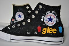 Custom painted high top Converse that are Glee themed!