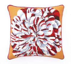 Carnation Needlepoint Pillow