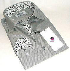 New Mens Formal Smart Italian Grey Stripes Slim Fit Floral Collar Shirt M L