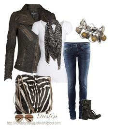 """""""tribal biker"""" by stacy-gustin ❤ liked on Polyvore featuring AllSaints, American Vintage, Valentino, H&M, Marc by Marc Jacobs, skinny jeans, biker boots, animal print bags, motorcycle jackets and printed scarves"""