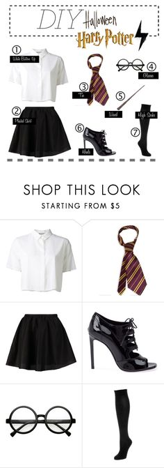 """""""DIY Halloween"""" by fashionbygm ❤ liked on Polyvore featuring T By Alexander Wang, ONLY, Yves Saint Laurent and Falke"""