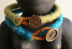 DIY Yarn Wrapped Rope Bracelet with Button Closure
