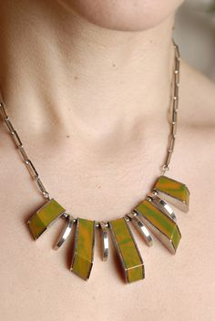 chrome and bakelite necklace