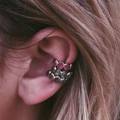 Gemstone Ear Bands, all stacked up.  #JAcrystals