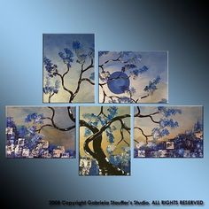 Abstract Modern Landscape Tree Asian Zen Art by Gabriela 44x32 Metallic blue $199- i want this!!