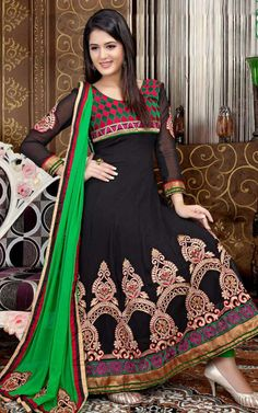 BLACK & GREEN GEORGETTE ANARKALI SALWAR KAMEEZ - QUE 1102