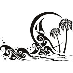 Palm tree ocean tatt