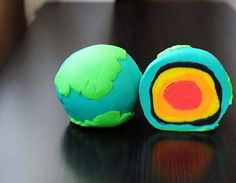 """Montessori School of Denver in Colorado, has a board called """"Culture: Science, Zoology, Geography.."""" There are some fabulous pins and ideas on this board. We fell in love with this simple playdoh depiction of the earth crusts and layers!   Earth Day, geography"""