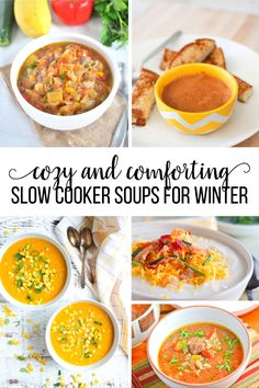 Over 20 Cozy and Comforting Slow Cooker Soup Recipes that are perfect for winter! There's something for everyone in this list. Slow Cooker Soup, Slow Cooker Recipes, Crockpot Recipes, Cooking Recipes, Herb Recipes, Delicious Recipes, Tasty, Crockpot Dishes, Crock Pot Cooking