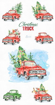 This Christmas Truck set of 9 high quality hand painted watercolor graphics. Perfect graphic for Christmas project, greeting cards, photos, posters, quotes and more.  -----------------------------------------------------------------  INSTANT DOWNLOAD Once payment is cleared, you can