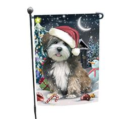 07425ae202082 Holly Jolly Christmas Holiday Lhasa Apso Dog Wearing Santa Hat Lhasa Apso