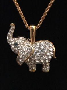 Lucky elephant solid gold elephant pendant solid gold and gold swarovski signed stamped elephant pendant necklace retired vintage aloadofball Choice Image