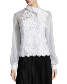 Long-Sleeve Tie-Neck Lace Blouse  by Rickie Freeman for Teri Jon at Neiman Marcus.