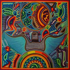 antonio's -the huichol shaman artist from San Miguel De Allende- yarn painting