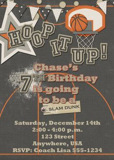 Basketball Birthday Party Invitation by DecidedlyDigital on Etsy, $15.00