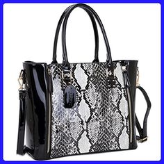 Dasein Women's Fashion Snake Print Top Zip Work Tote Satchel Handbags Shoulder Bag Purse 1 Snakeskin Print Black - Top handle bags (*Amazon Partner-Link)