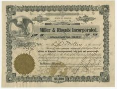 February 19, 1906, twenty-one years after it began in Richmond as a dry goods shop, Miller & Rhoads department store was legally incorporated with the issue of sixteen stock certificates were issued as follows: nos. 1–7 to president Linton Miller, 8–14 to treasurer Webster Rhoads, and 15 and 16 to secretary A. B. Laughon. The ornate certificate templates were printed locally at Southern Stamp and Stationery Co.,