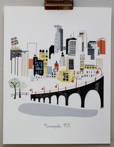 Print of the Minneapolis Skyline. Do you recognize it? Minneapolis Skyline, Minnesota, Web Design, Graphic Design, Twin Cities, Illustrations, Historical Sites, That Way, Images